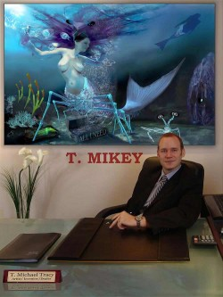 "T. Michael Tracy infront of ""The Mantis Shrimp Mermaid"""