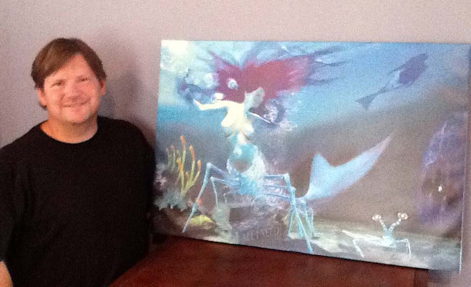 Keith and his new painting 'The Mantis Shrimp Mermaid""